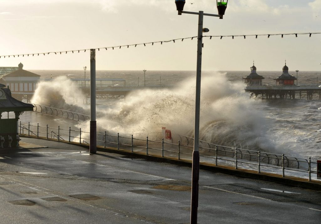 High tide and big waves in storms at Blackpool North Pier. Photo from Mel Jones Photography