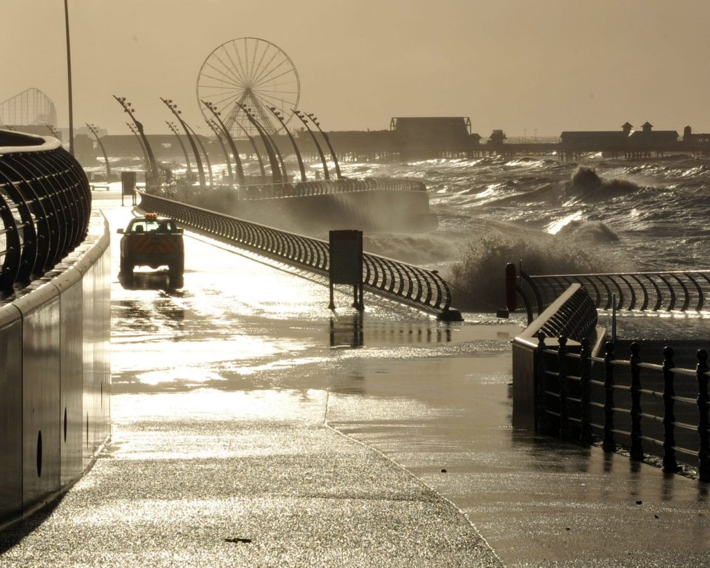 High tide at Blackpool Central during storms - next to Festival House. Photo from Mel Jones Photography