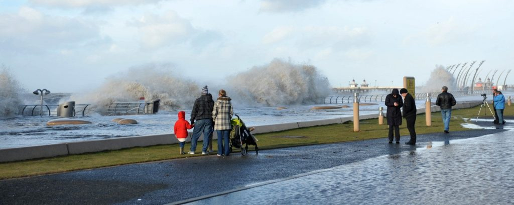 High tide coming onto Blackpool Central Promenade during storms. Photo from Mel Jones Photography