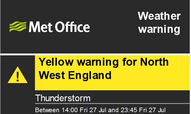 Weather Warnings for Thunderstorms, 27.7.18