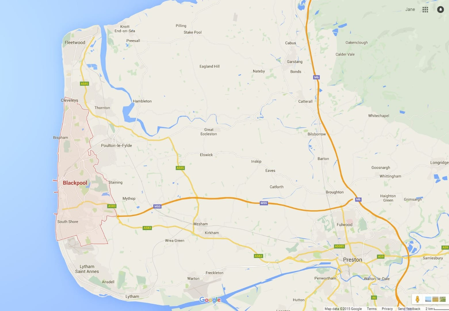 Walking around the Fylde Coast - Google map
