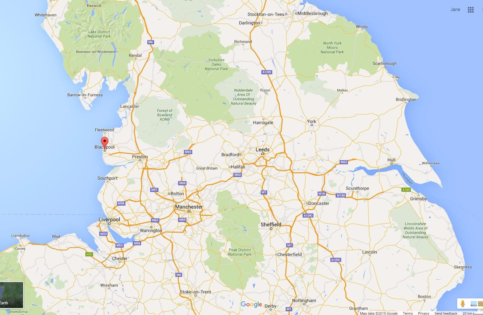 North West of England: Google map