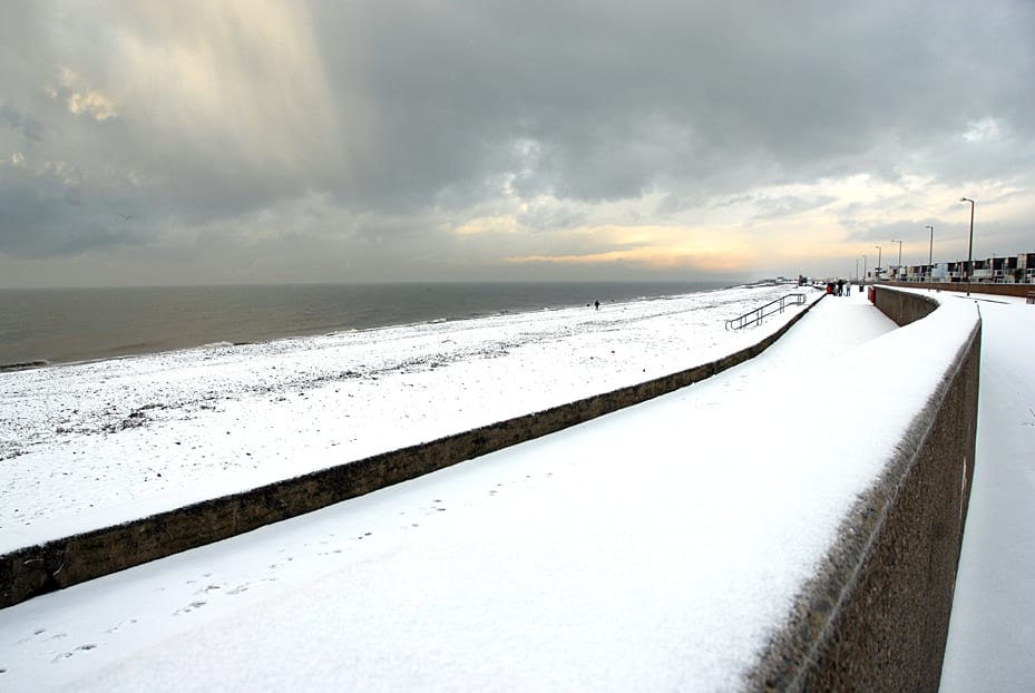Snow at the seaside and a snowy beach at Cleveleys