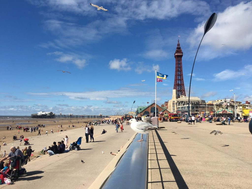 Blackpool Central promenade and beach, on the Fylde Coast seafront