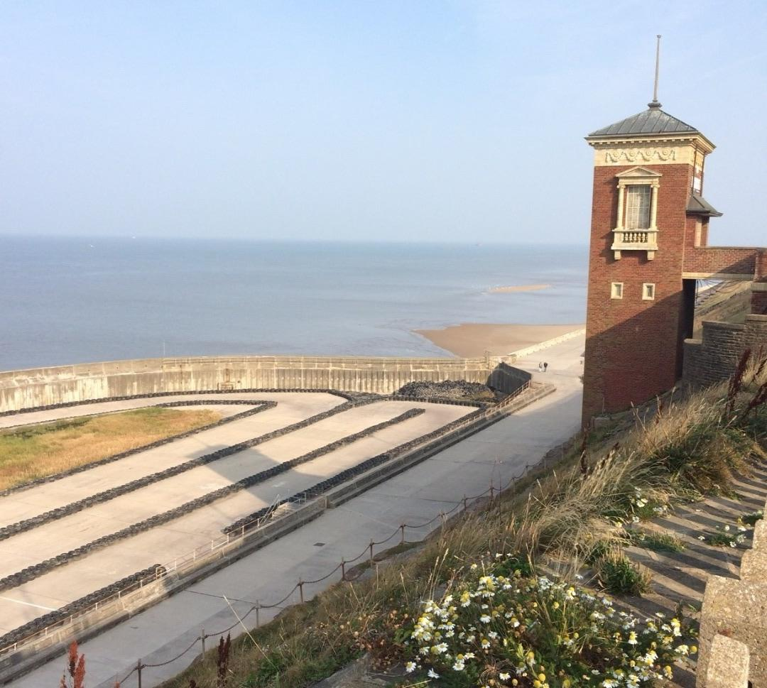 Blackpool north shore boating pool and cliff lift on the Fylde Coast seafront