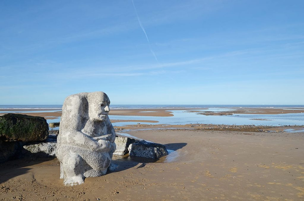 The stone Ogre on Cleveleys beach, from the story of the Sea Swallow, on the Fylde Coast seafront