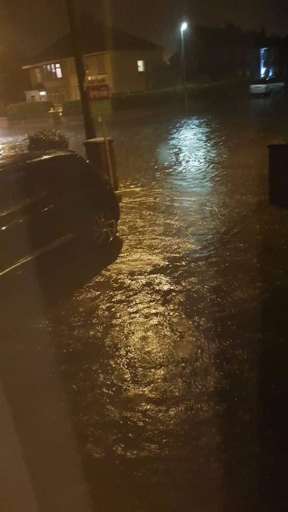 Surface flooding from rainwater - Westbourne and Kings Walk, Cleveleys, November 2017. Photo: James Worthington