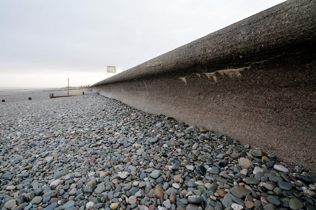 Low levels of shingle on Rossall Beach at Cleveleys. Where does it all go? Find out with Coast Watchers
