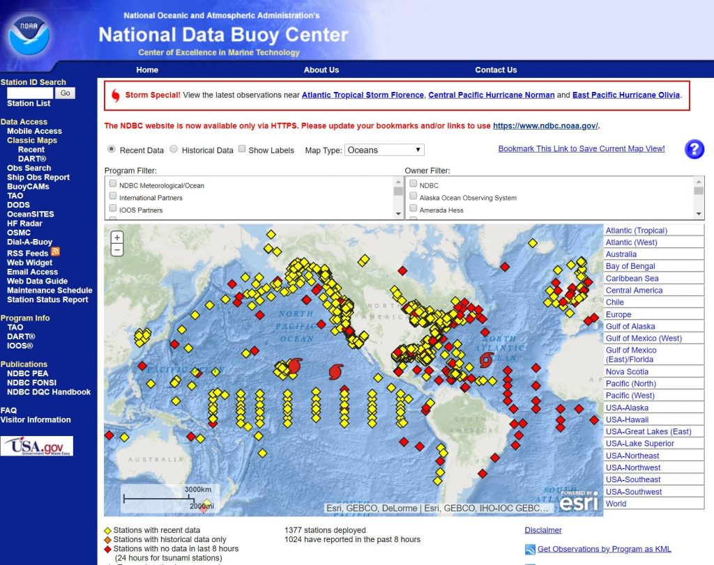 National Data Buoy Centre records Weather conditions at sea