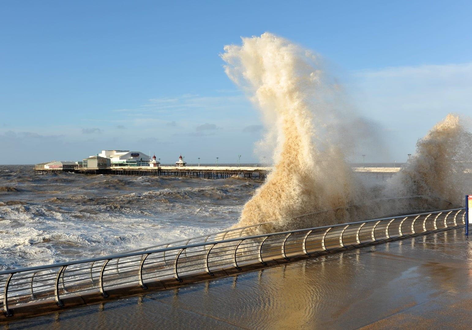 Sea overtopping at Blackpool. Photo: Mel Jones. Visit Fylde Coast Weather Warnings