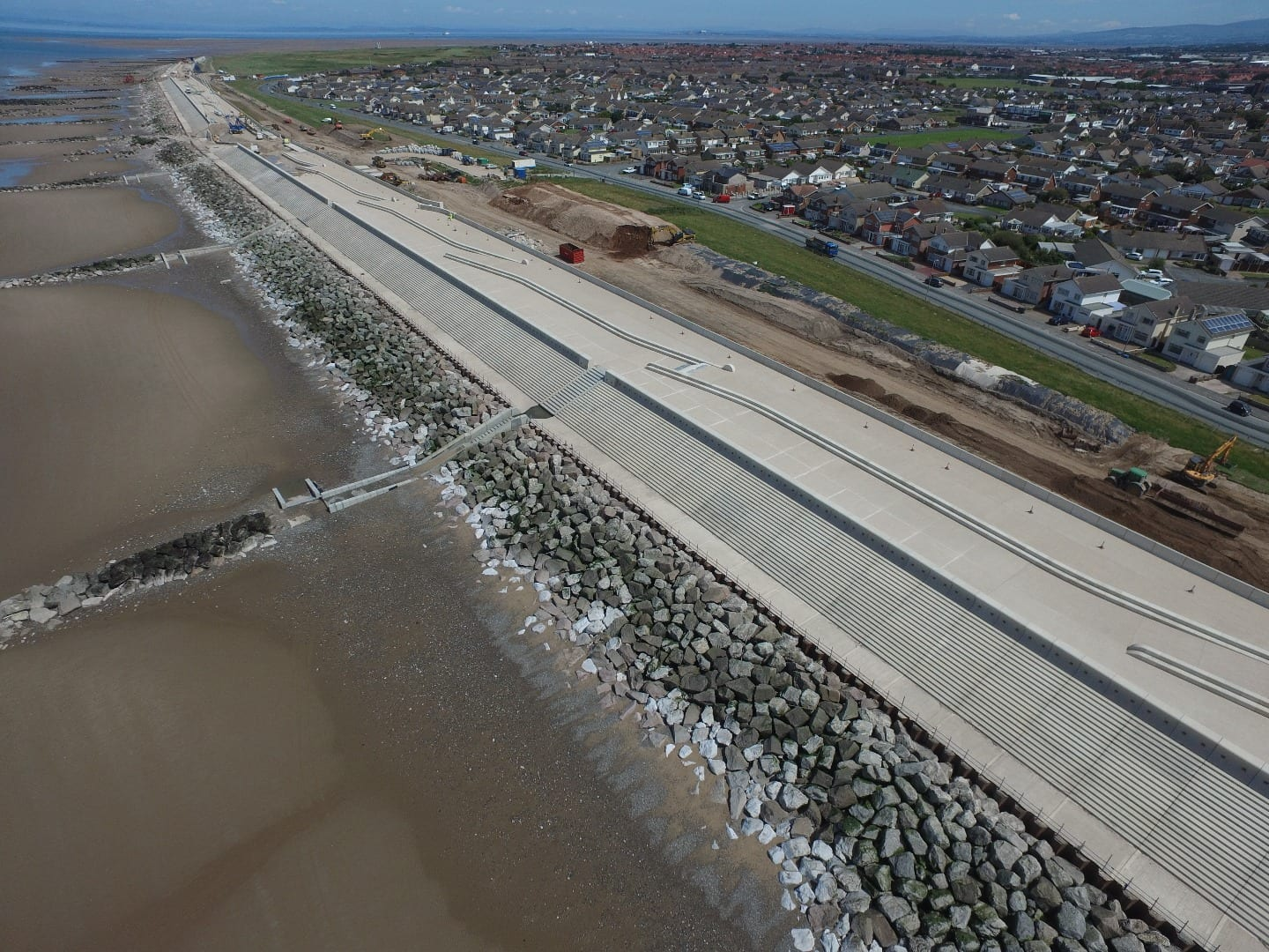 Aerial view of Rossall Sea Defences at Fleetwood, part of the Fylde Coast seafront