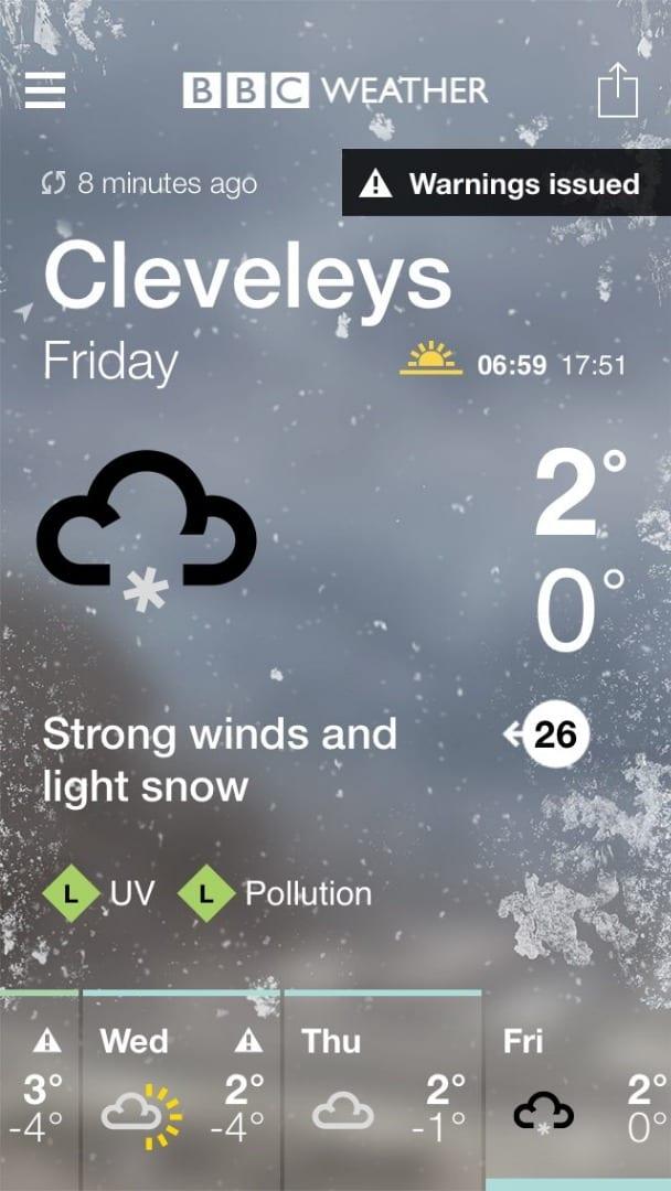 Snow forecast for Fylde Coast on Friday 2.3.18