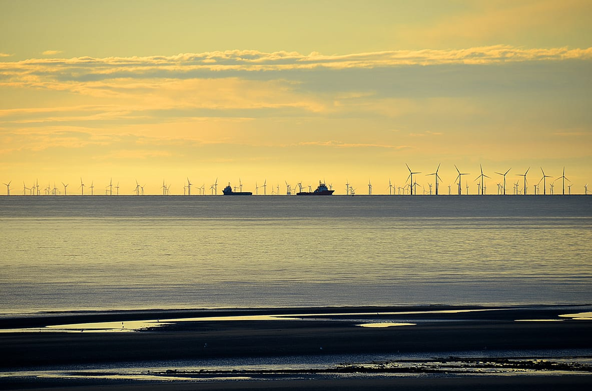 Offshore windfarm and boats seen from Cleveleys, one of the amazing views from the Fylde Coast