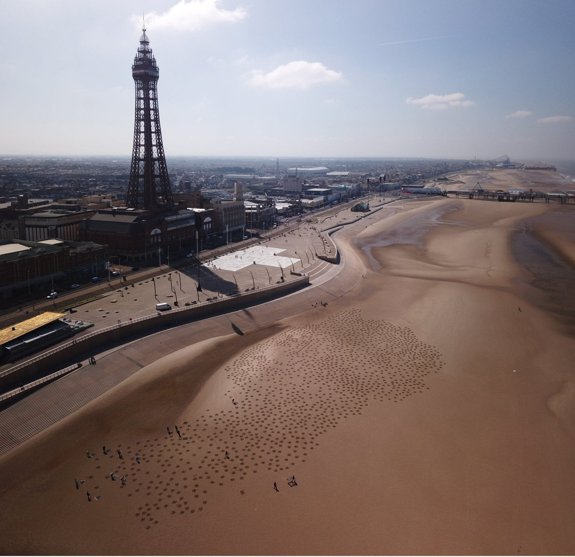 1000 sand turtles on Blackpool Beach, created by staff at SEA LIFE Blackpool to mark World Oceans Day 2018