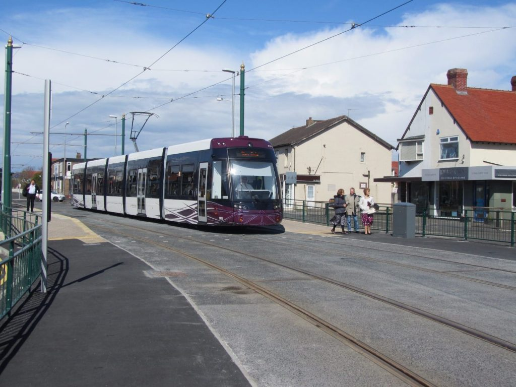 Blackpool tram travelling through Cleveleys, getting to the Fylde Coast