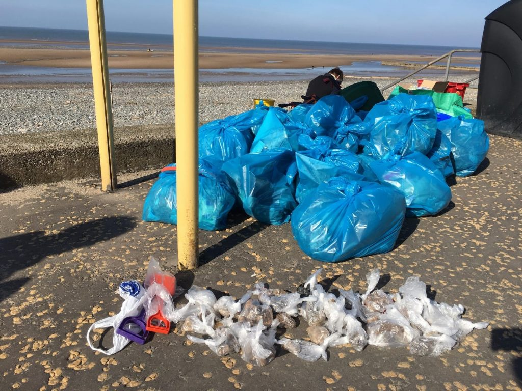 spraying dog poo - this much collected in an hour on Rossall Beach