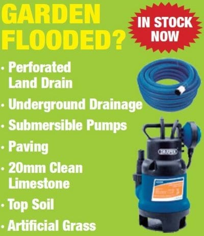 Drainage products for a flooded garden from Builders Supplies