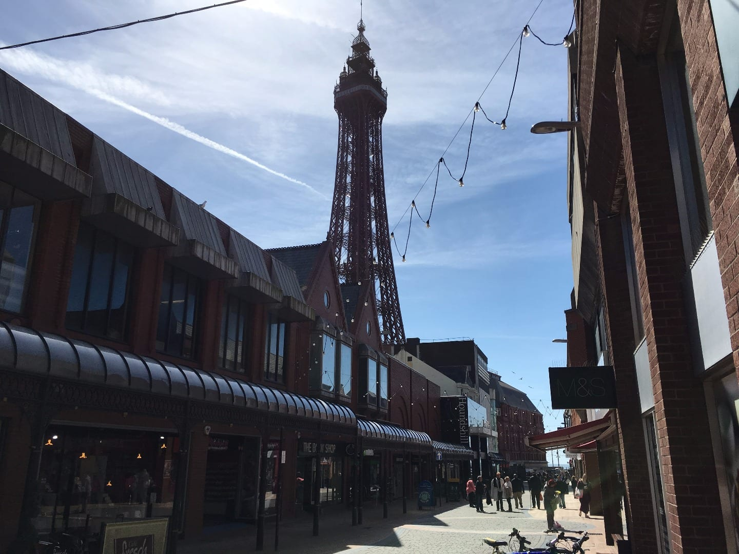 Houndshill Shopping Centre on the left, right under Blackpool Tower