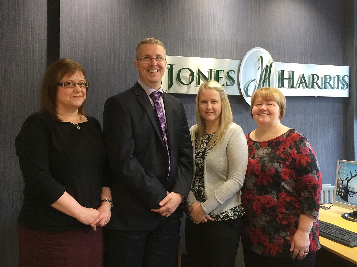 Jones Harris bookkeeping team with Director Stewart Case