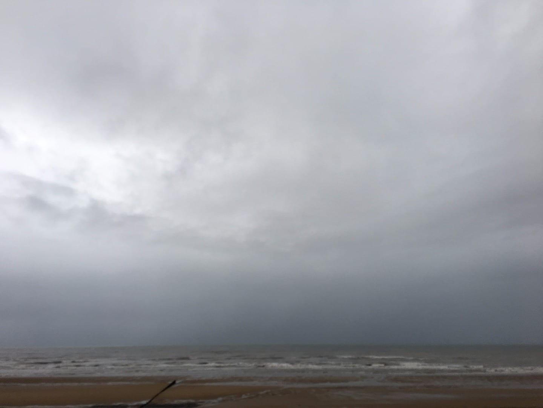 Rain falling over Cleveleys beach