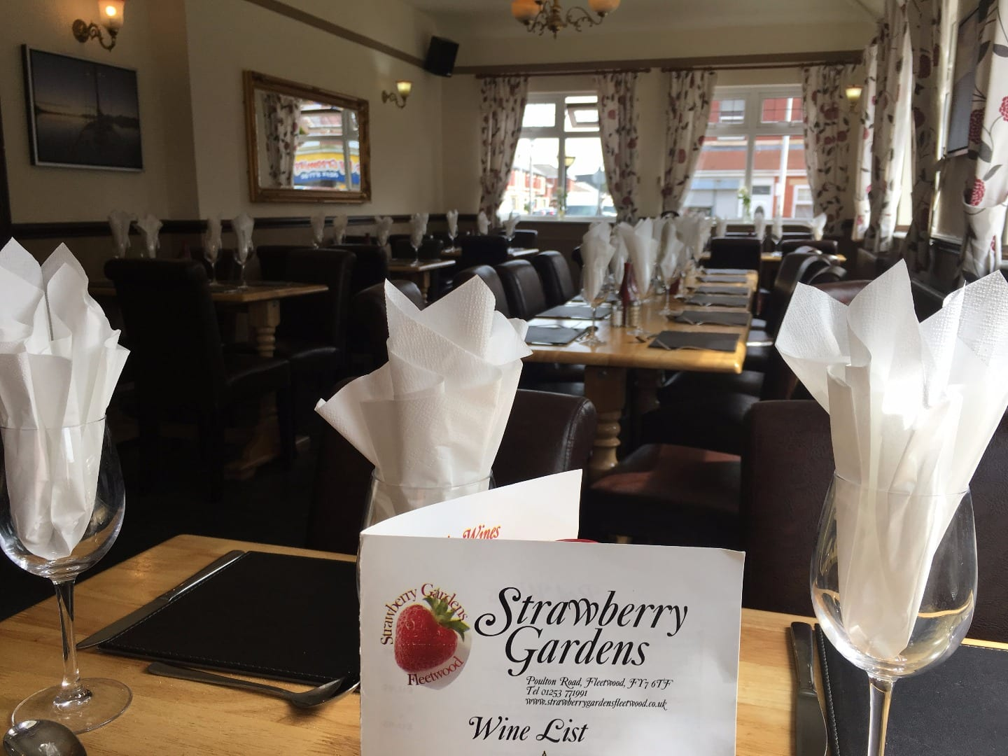 Dining room at the Strawberry Gardens Pub and Bistro, Fleetwood