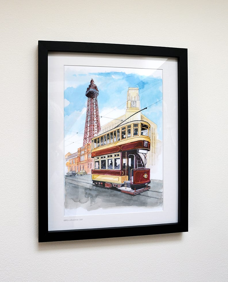 Original watercolour painting of Heritage Tram to Blackpool Tower from Seaside Emporium