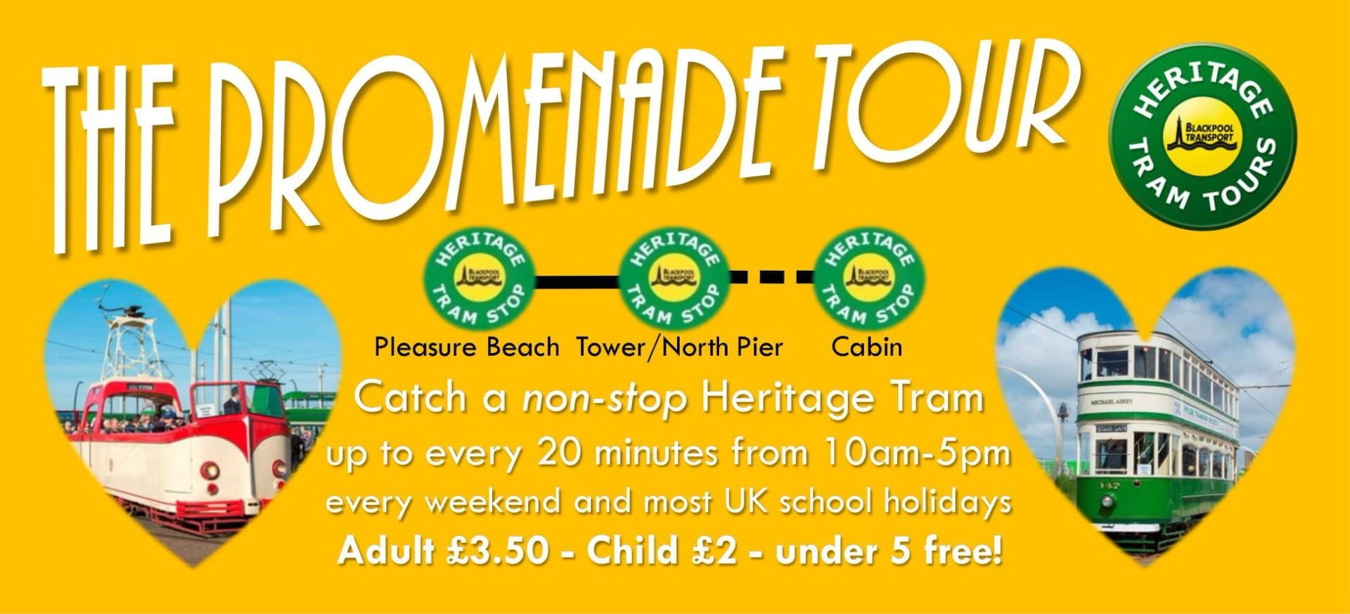 Blackpool Heritage Tram Tours along the promenade