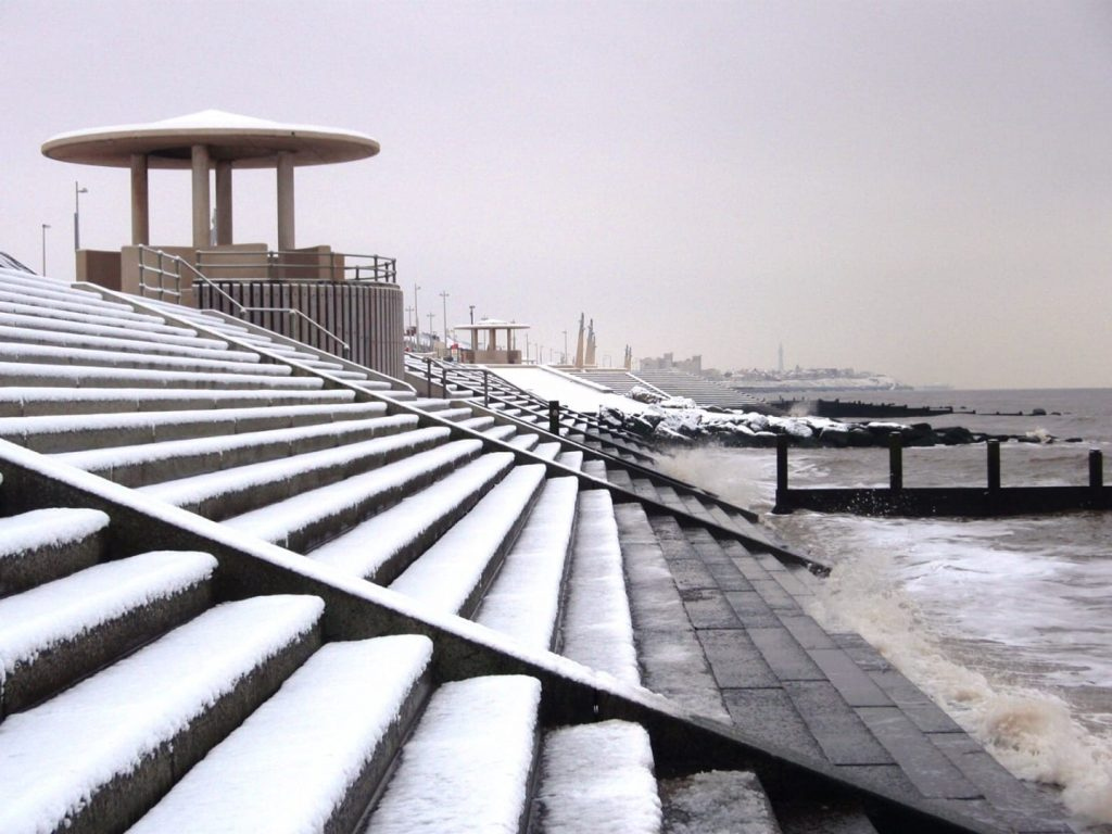 Snow at the seaside on Cleveleys promenade