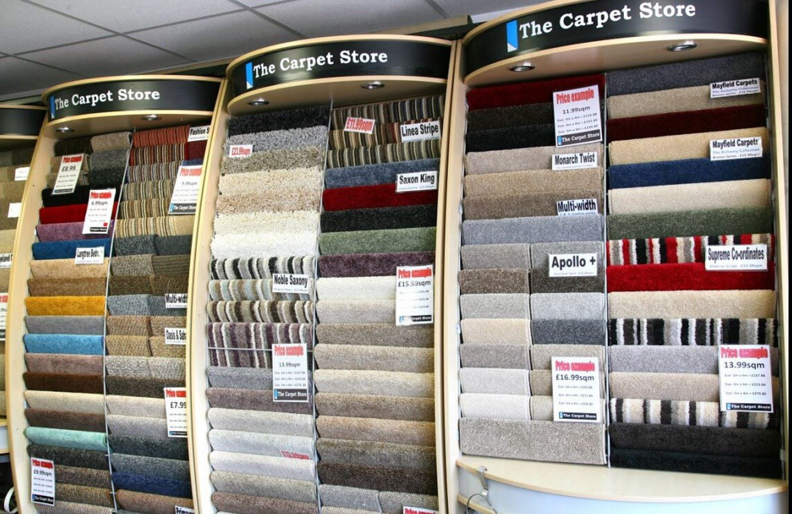 Carpet swatches at The Carpet Store Poulton