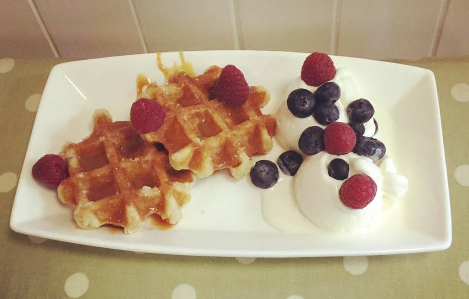 Waffles with fresh fruit at the New Penny, Poulton