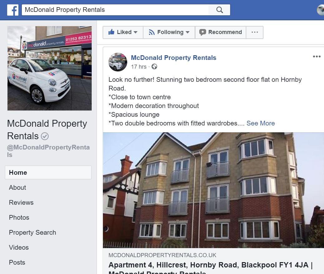 McDonald Property Rentals Facebook page