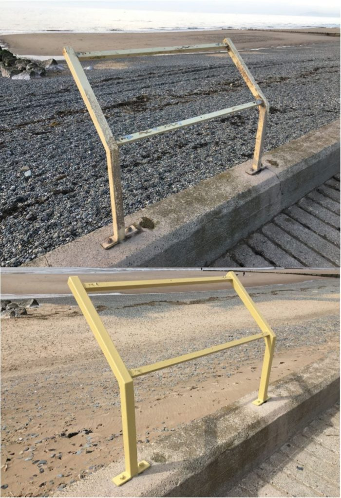 Before and after photos of the frames for the information boards at Rossall Beach