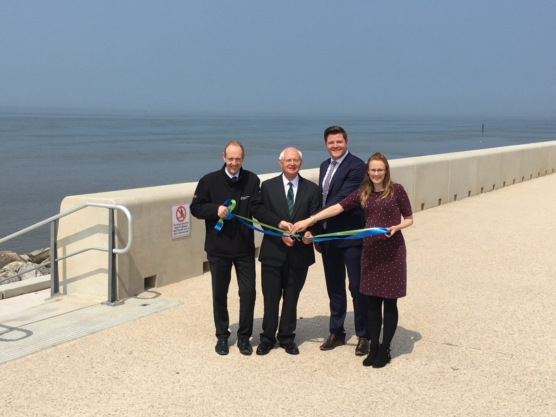 Beautiful weather for the opening of Rossall Sea Wall