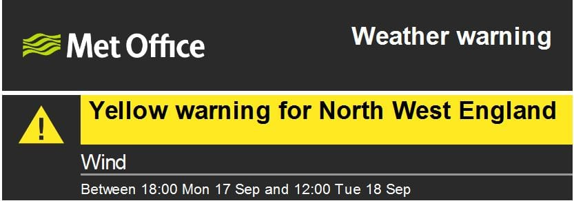 Yellow weather warning for wind 17.9.18