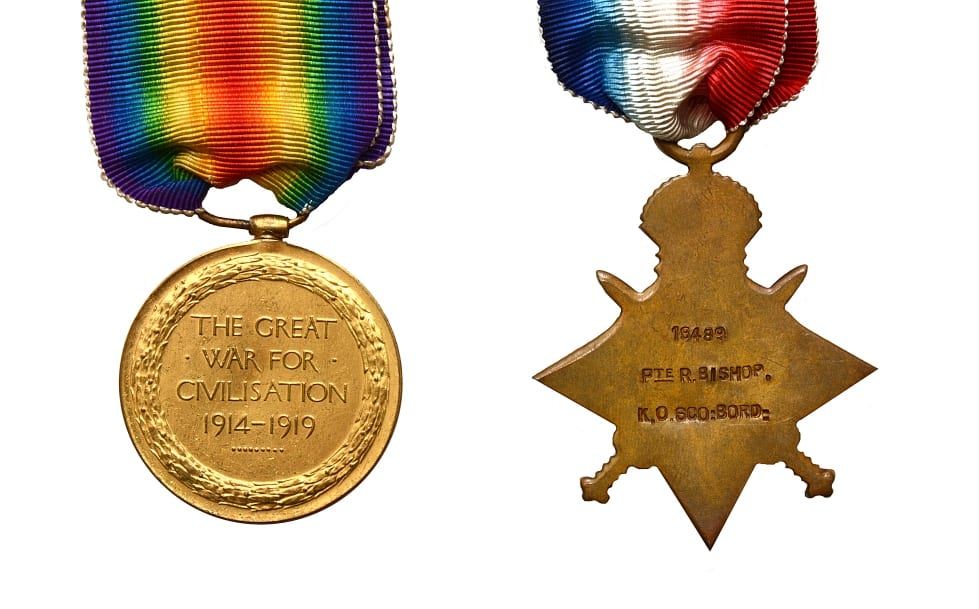 Details on the reverse of WW1 medals awarded to Richard Bishop. Chrissies War