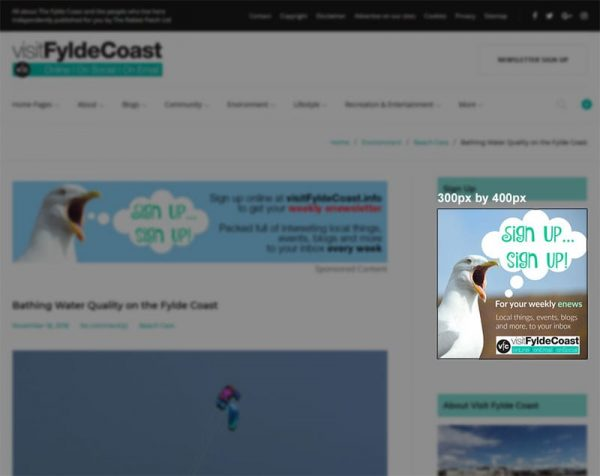 Box advert - right column, with Visit Fylde Coast